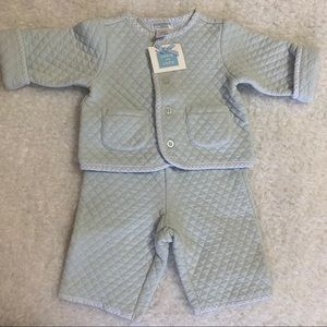 Janie and Jack Blue quilted pant set NWT